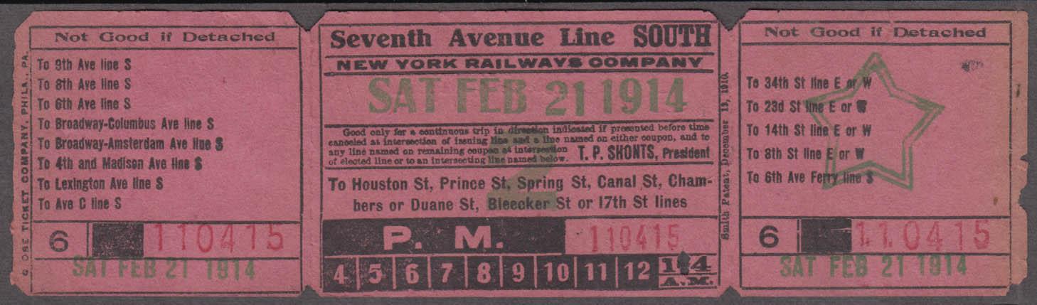 New York Railways Seventh Avenue Line South railroad ticket 1914