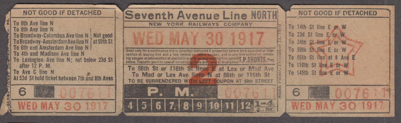 New York Railways Seventh Avenue Line North railroad ticket 1917
