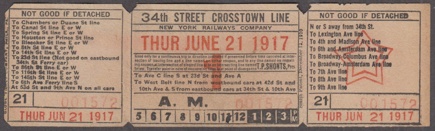 New York Railways 34th Street Crosstown Line railroad ticket 1917