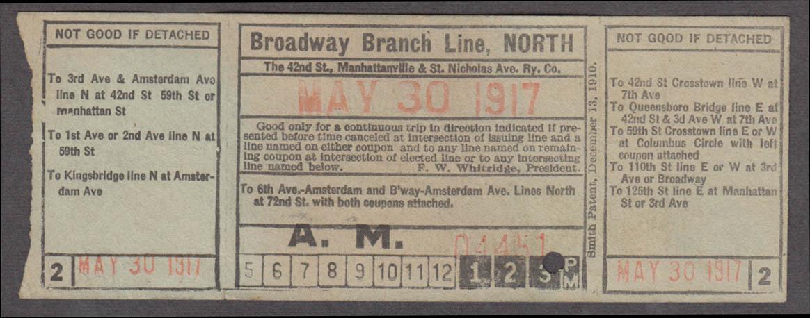 42nd St Manhattanville & St Nicholas Ave Broadway Branch N railroad ticket 1917