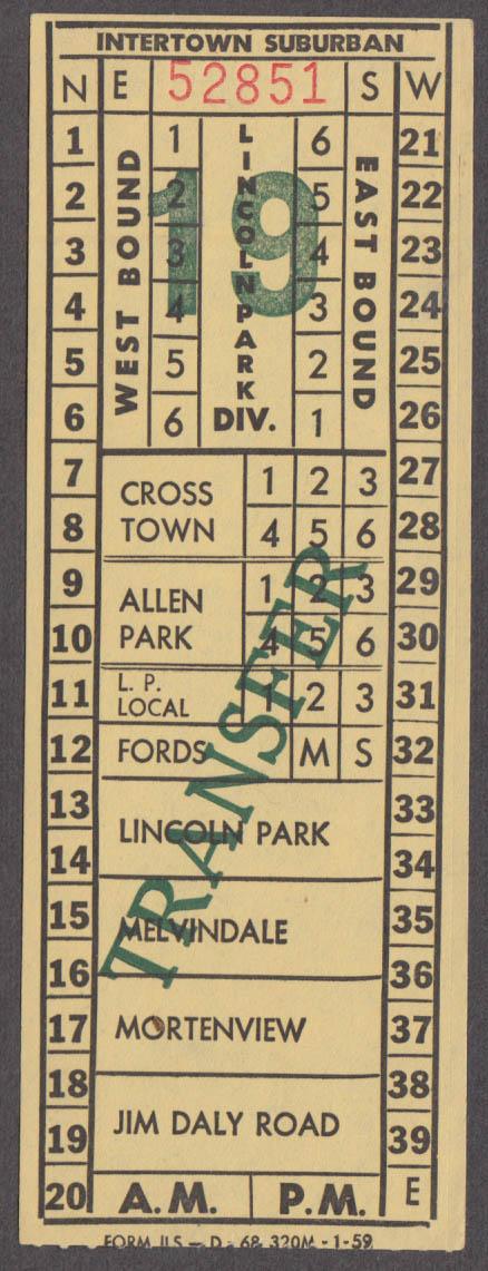 Intertown Suburban Lincoln Park Division bus transfer ticket Dearborn MI 1959