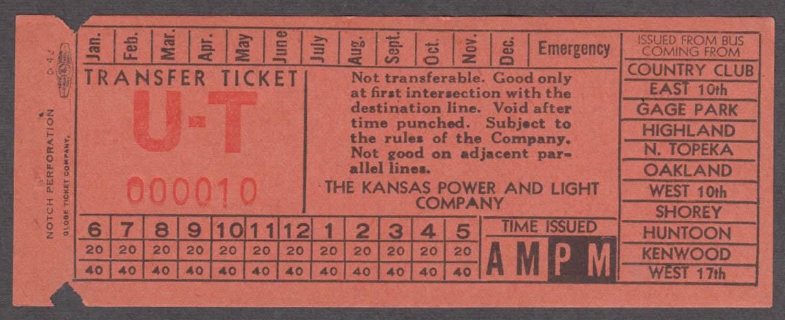 Kansas Power & Light Topeka U-T bus transfer ticket 1942
