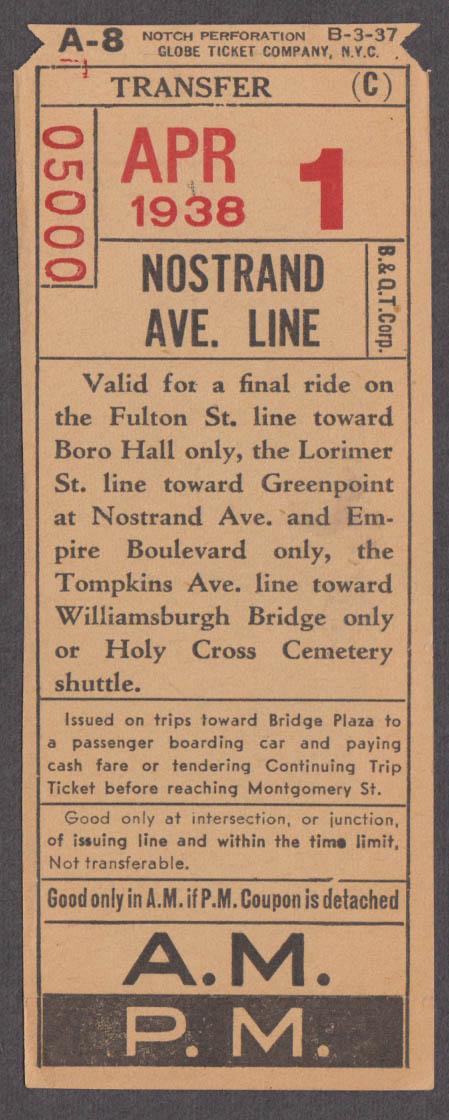 Bronx & Queens Transit Transfer Nostrand Avenue Line railroad ticket 1938