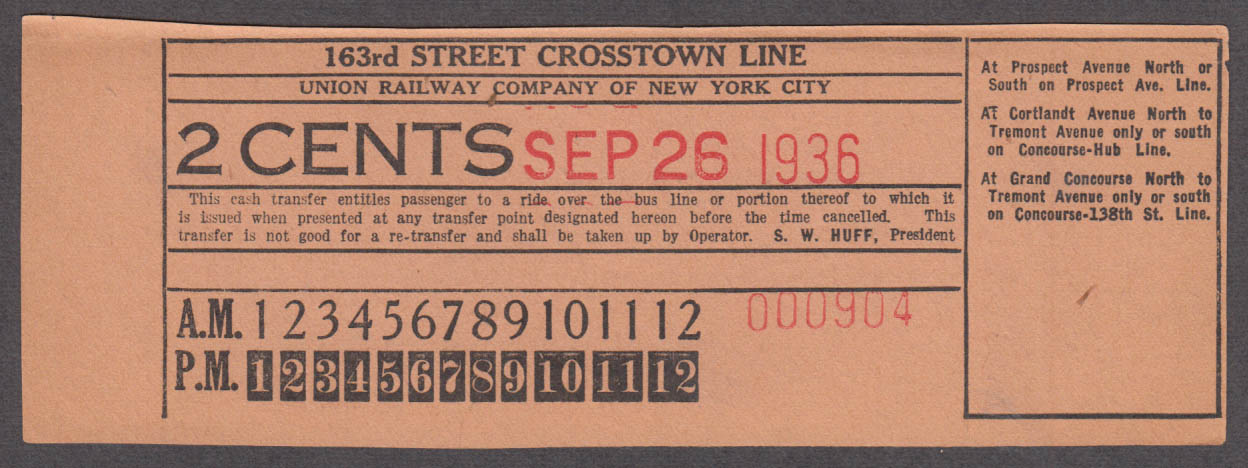Union Street Railway 163rd Street Crosstown Line transfer railroad ticket 1936