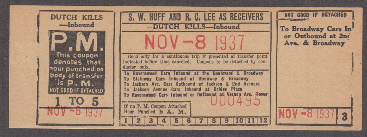 S W Huff & R C Lee Receivers Steinway Railway transfer Dutch Kills 1937
