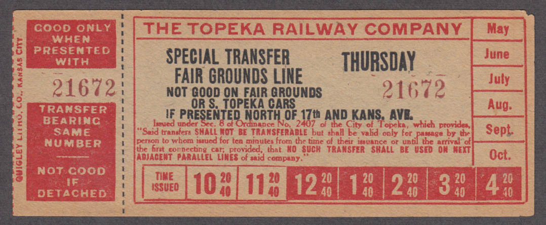 Topeka Railway transfer Special Fair Grounds Line railroad ticket ca 1930s