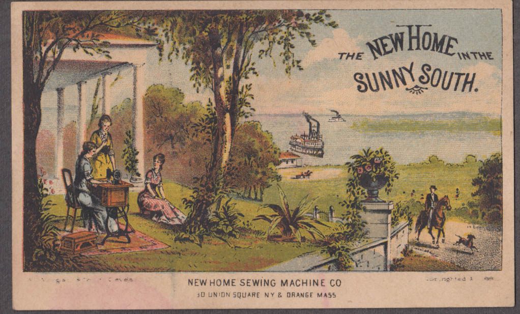 New Home Sewing Machine in the South Victorian trade card steamboat 1882