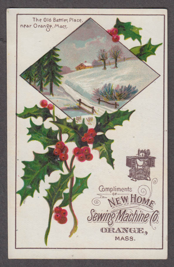 New Home Sewing Machine Christmas trade card Old Battles Place Orange MA 1880s