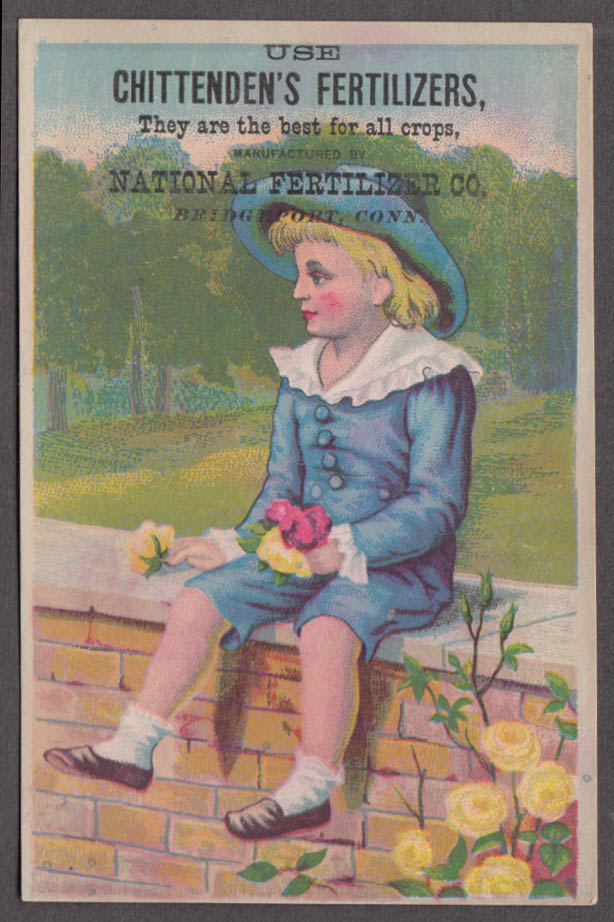 Chittenden's Fertilizers Bridgeport CT Victorian trade card Blue Boy wall 1880s