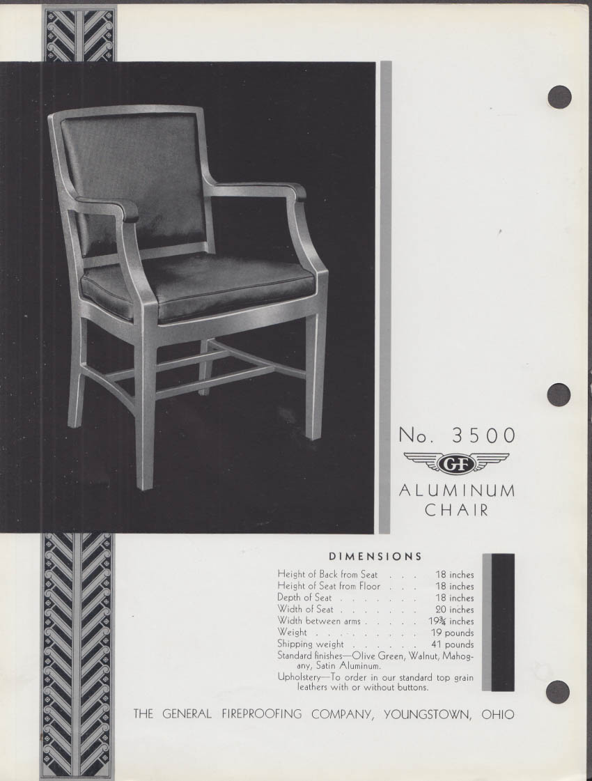General Fireproofing sell sheet 1936 #3500 & 3501 Aluminum Chair