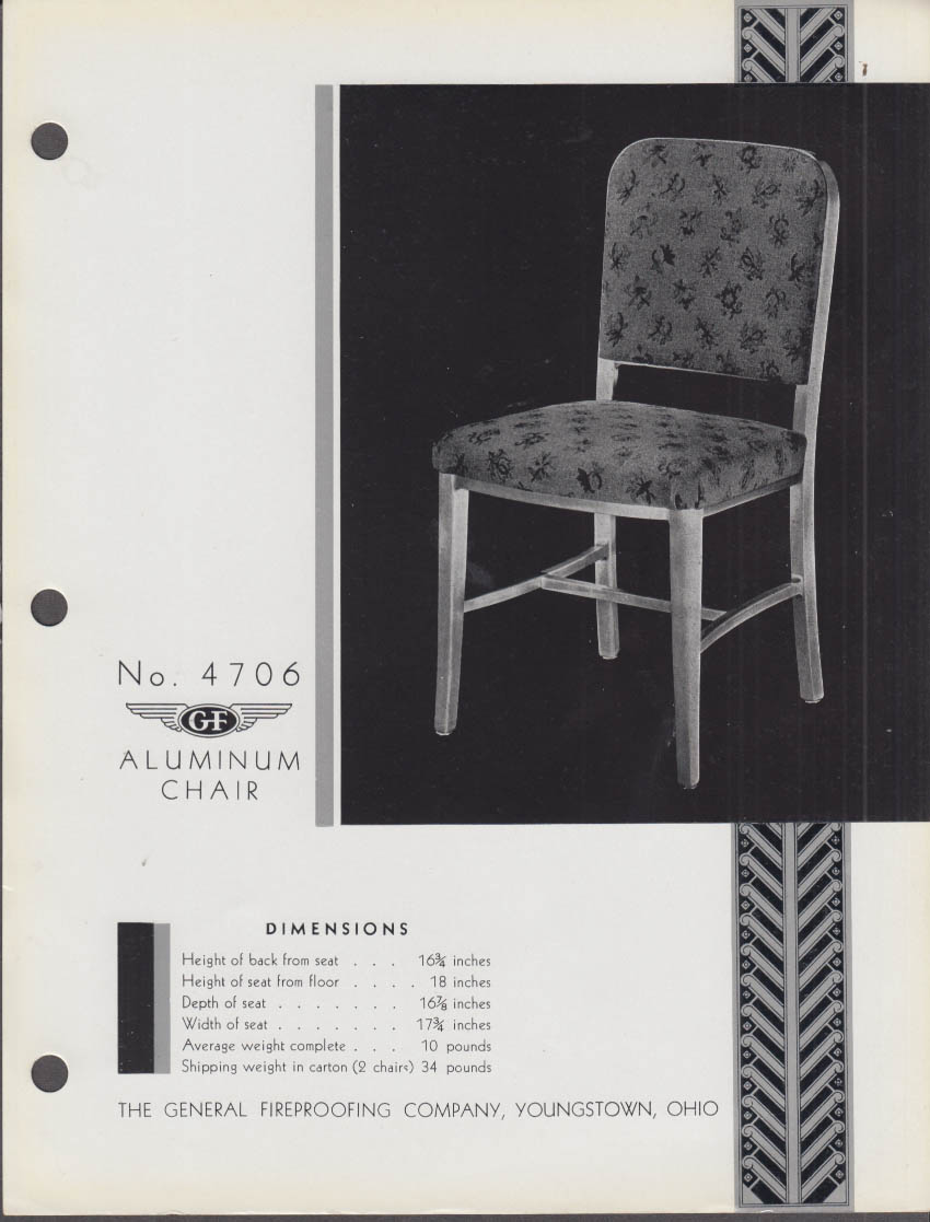 General Fireproofing sell sheet 1936 #4706 & 4707 Aluminum Chair