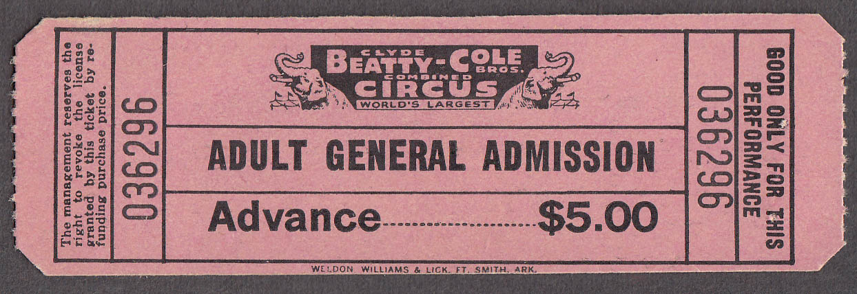 Clyde Beatty Cole Bros circus ticket Adult Advance General Admission 1982