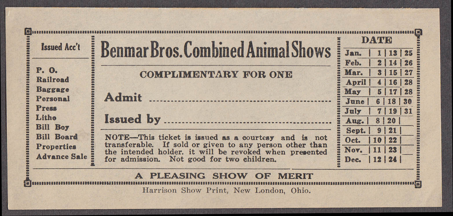 Benmar Bros Combined Animal Shows circus ticket Complimentray unused ca 1940s