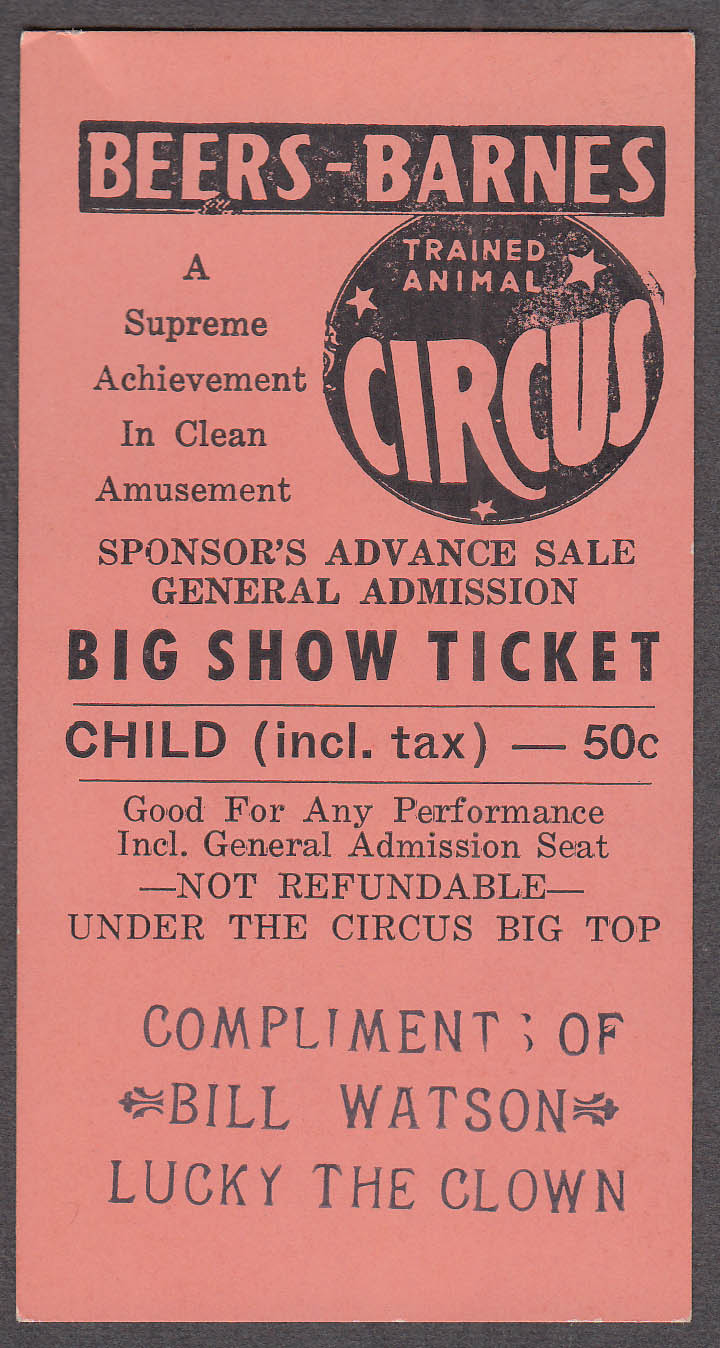 Beers-Barnes Trained Animal circus ticket compliments Lucky the Clown 1960s