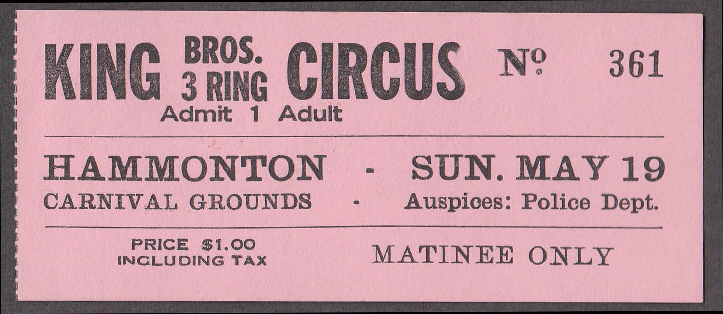 King Bros 3 Ring circus ticket Hammonton Carnival Grounds NJ ca 1960s