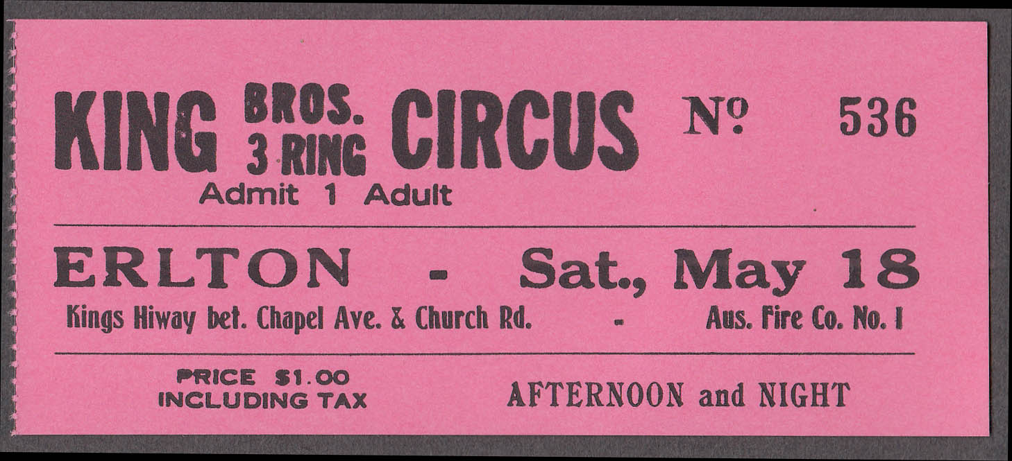King Bros 3 Ring circus ticket Adult ca 1960s Erlton NJ
