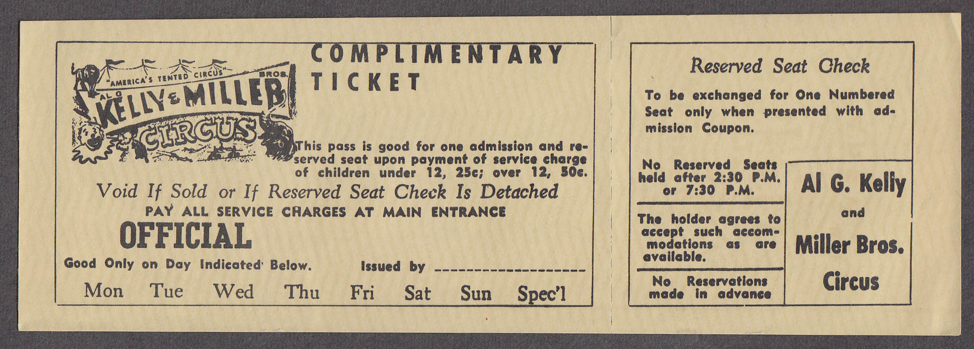 Al G Kelly & Miller Bros circus ticket Complimentary Reserved Seat Check undated