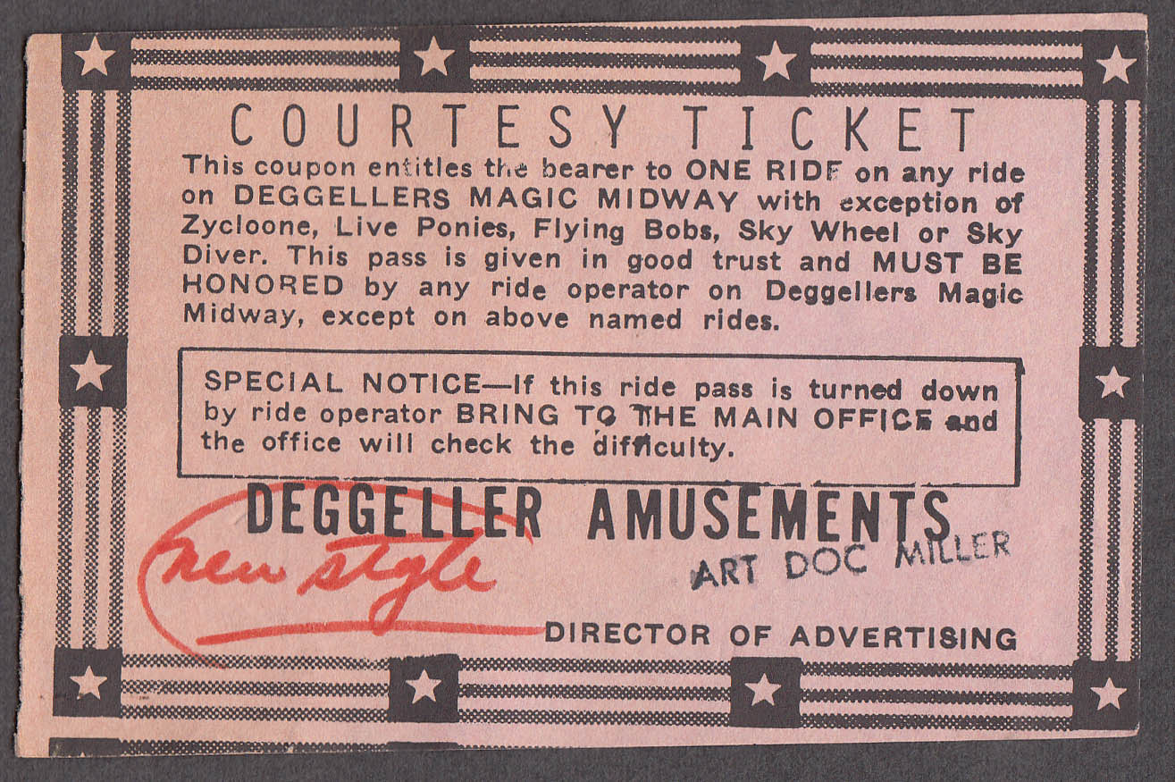 Deggellers Magic Midway Amusements Courtesy circus ticket ca 1950s