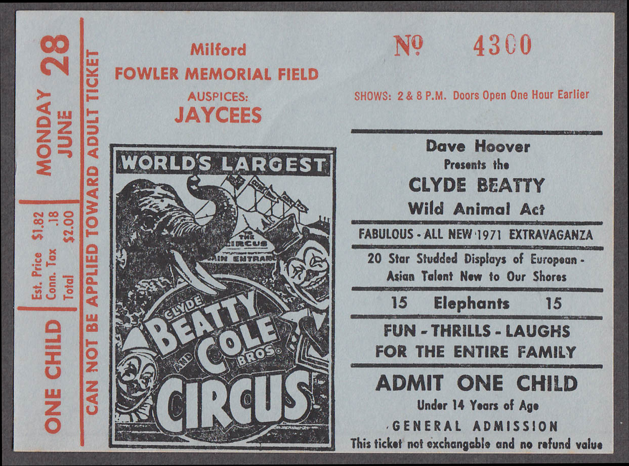 Clyde Beatty & Cole Bros circus ticket one child Milford CT 1971