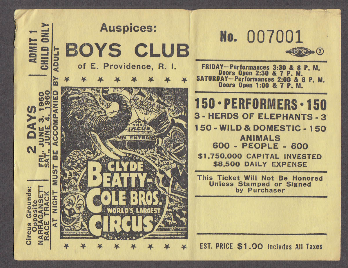 Clyde Beatty & Cole Bros circus ticket one child Boys Club E Providence RI 1960