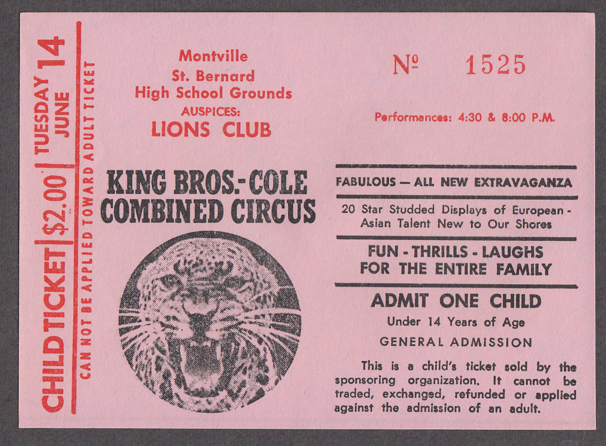 King Bros - Cole Combined circus ticket Montville Lions Club child ca 1960s
