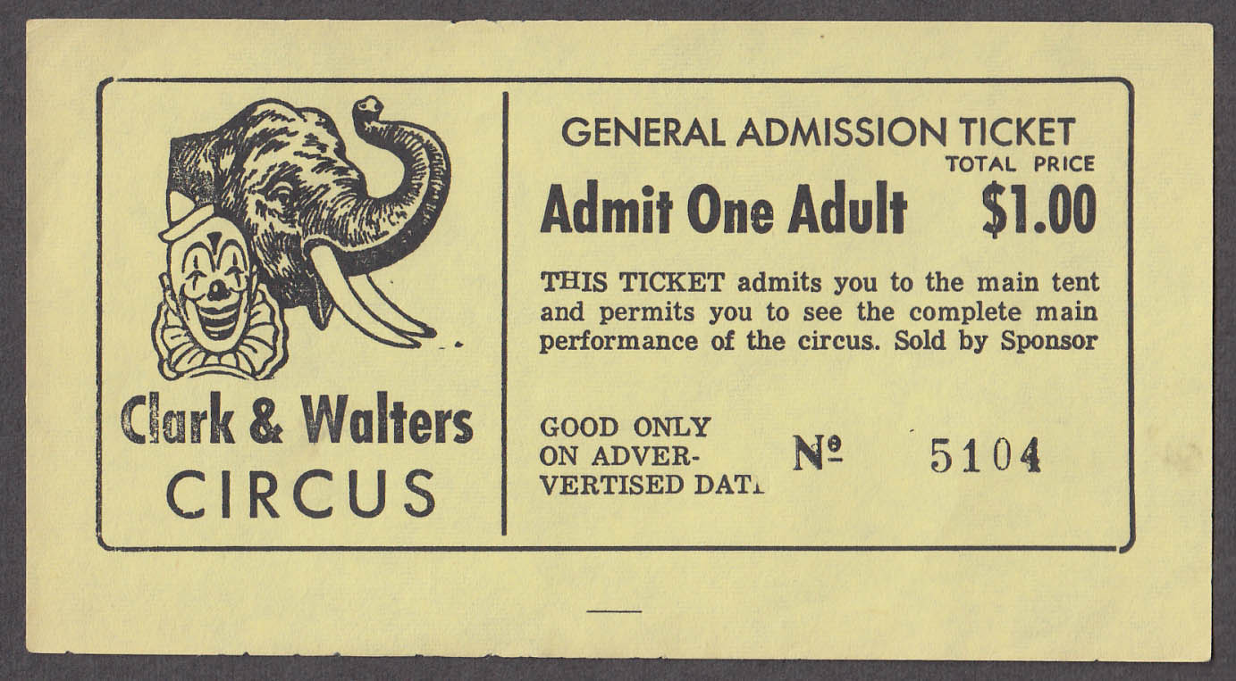 Clark & Waters General Admission Adult circus ticket undated