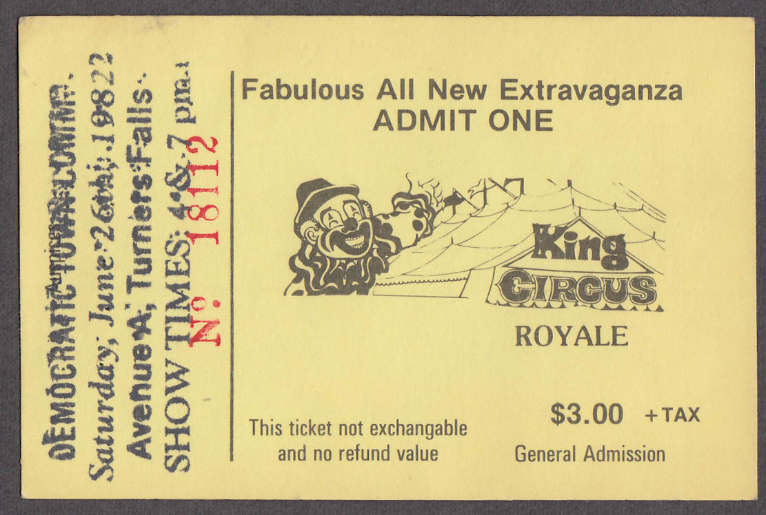 King Circus Royale circus ticket Turners Falls MA 1982