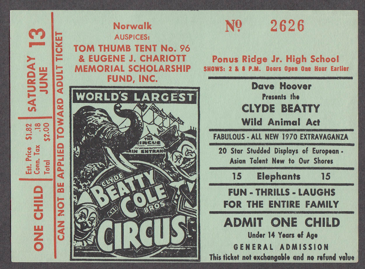Clyde Beatty & Cole Bros circus ticket one child Tom Thumb Tent Norwalk CT 1970