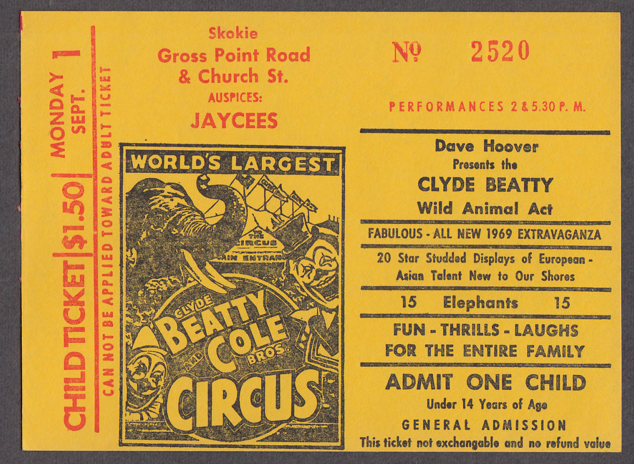 Clyde Beatty & Cole Bros circus ticket one child Skokie Jaycees IL 1969