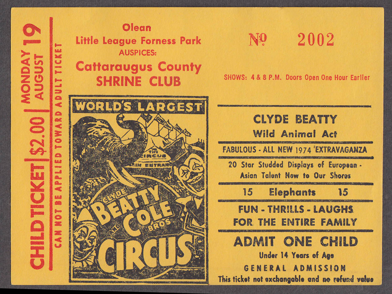 Clyde Beatty & Cole Bros circus ticket 1 child Cattaraugus Cty Shriners NY 1974