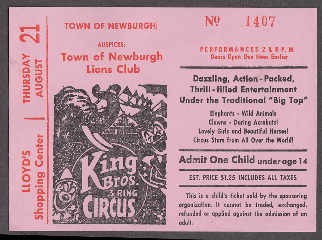 Clyde Beatty & Cole Bros circus ticket 1 child Newburgh Lions Club NY 1970s