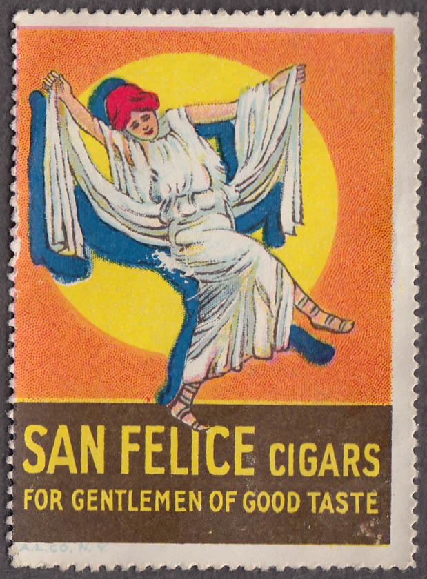 San Felice Cigars for Gentlemen of Good Taste cinderella stamp 1920s dancer