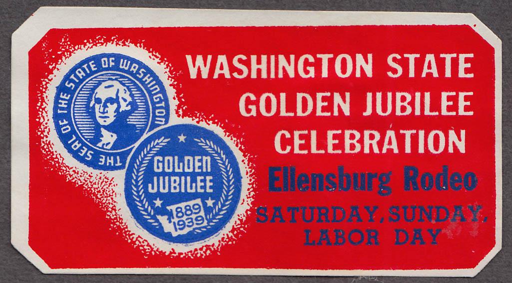 Washington State Golden Jubilee Ellensburg Rodeo cinderella stamp 1939