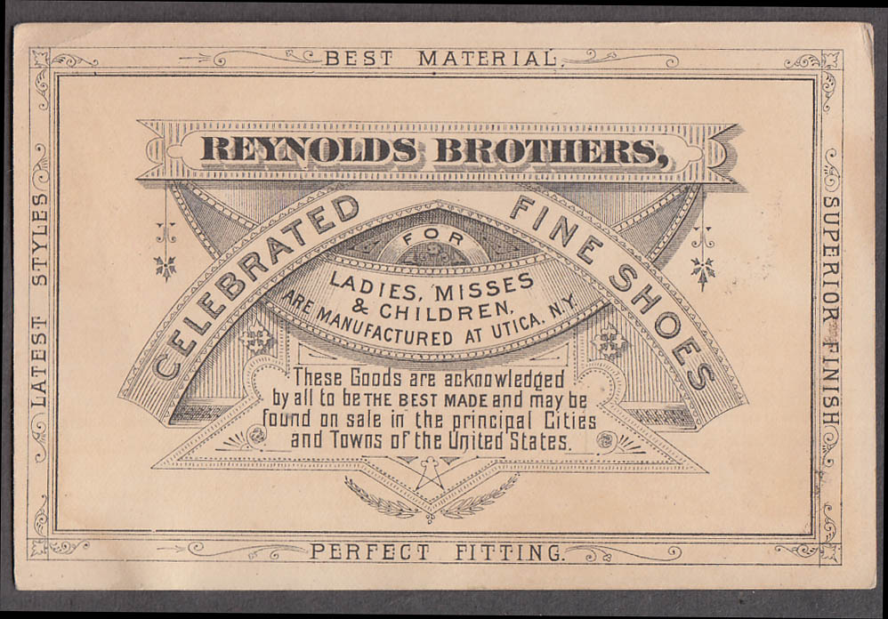 Reynolds Brothers Ladies Children's Shoes trade card 1880s Utica NY girl & fan