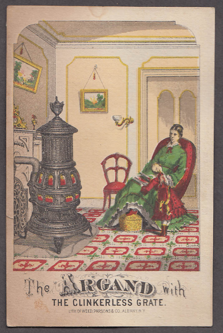 Argand Stove with Clinkerless Grate trade card 1880s Perry & Co Albany NY