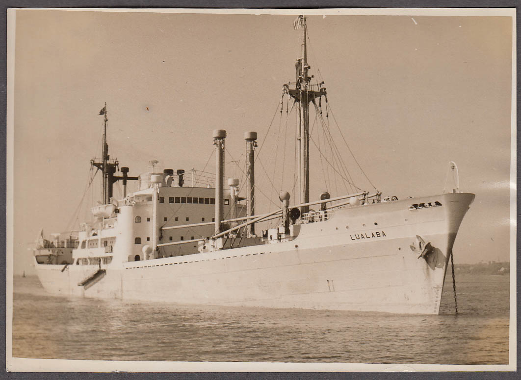Belgian Line passenger freighter S S Lualaba photograph 1950s