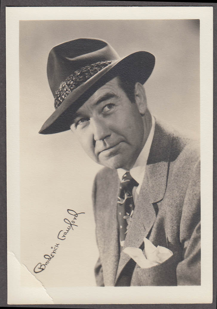 Broderick Crawford fan club photo 1950s facsimile autograph