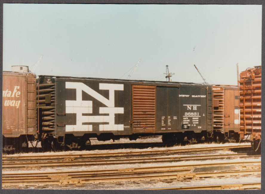 New York New Haven & Hartford RR Steel Boxcar #36831 built 9 1941 color photo
