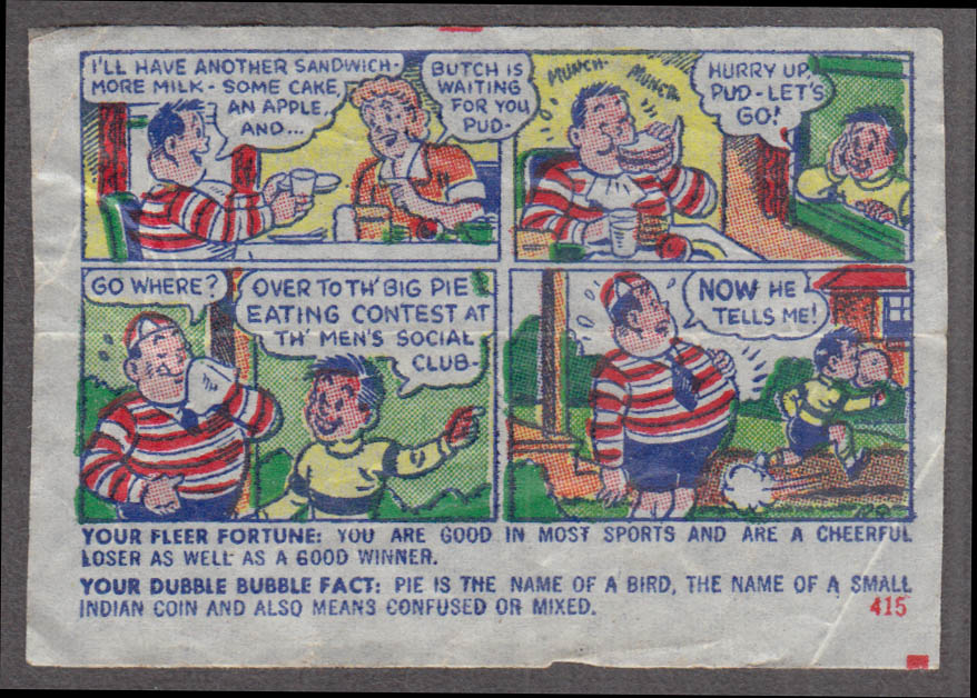 Fleer Dubble Bubble bubblegum comic featuring Pud 1950s #415