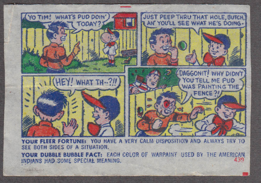 Fleer Dubble Bubble bubblegum comic featuring Pud 1950s #439