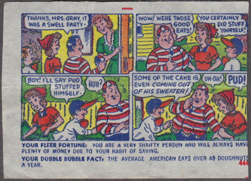 Fleer Dubble Bubble bubblegum comic featuring Pud 1950s #444