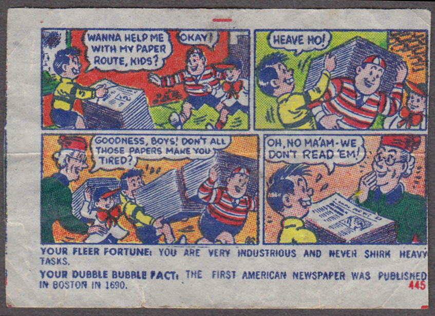 Fleer Dubble Bubble bubblegum comic featuring Pud 1950s #445