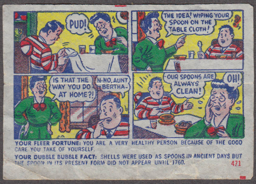 Fleer Dubble Bubble bubblegum comic featuring Pud 1950s #471