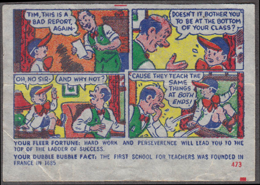 Fleer Dubble Bubble bubblegum comic featuring Pud 1950s #473