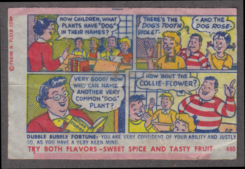 Fleer Dubble Bubble bubblegum comic featuring Pud 1950s #480