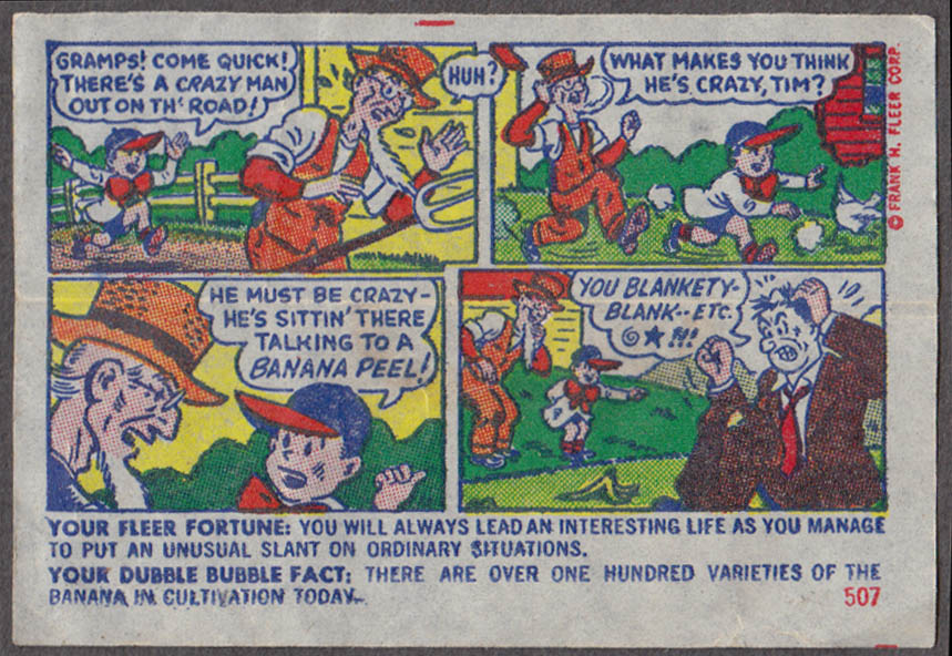 Fleer Dubble Bubble bubblegum comic featuring Pud 1950s #507