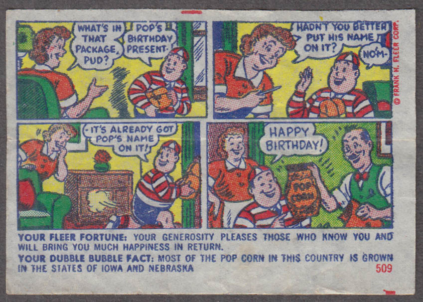 Fleer Dubble Bubble bubblegum comic featuring Pud 1950s #509