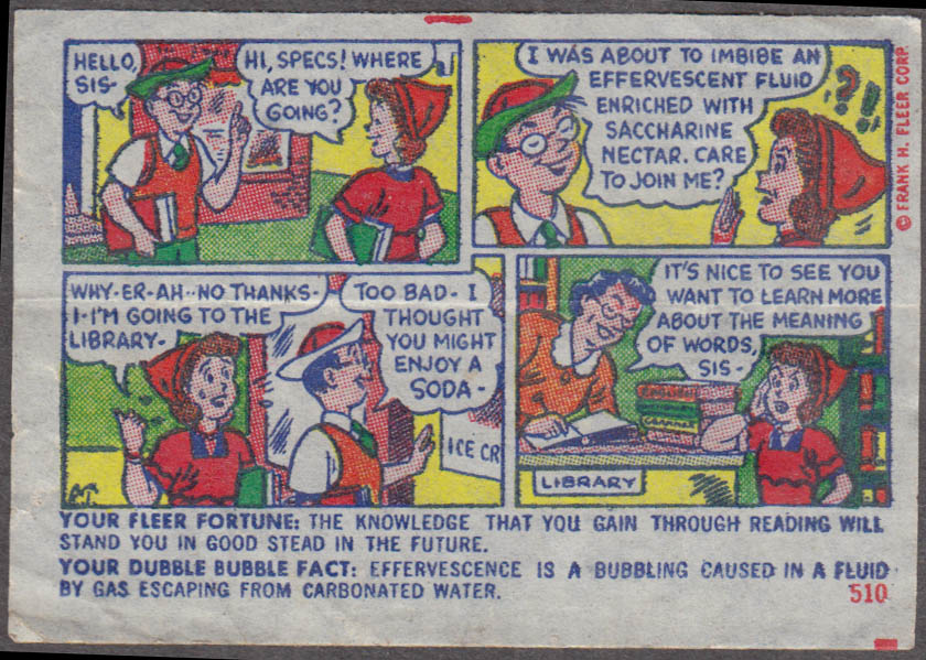 Fleer Dubble Bubble bubblegum comic featuring Pud 1950s #510