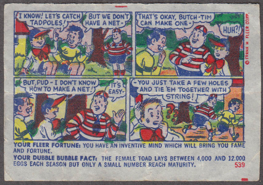 Fleer Dubble Bubble bubblegum comic featuring Pud 1950s #539