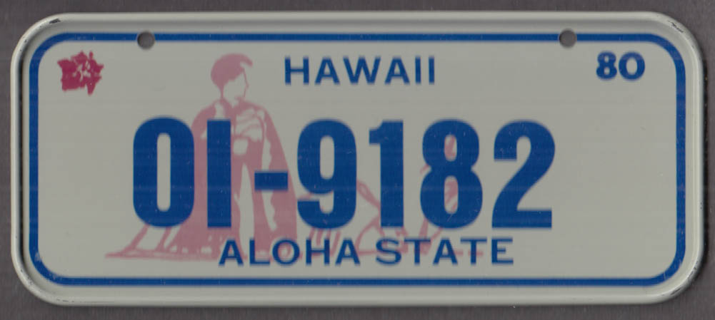 1980 Post Honeycomb Cereal license plate Hawaii Aloha State
